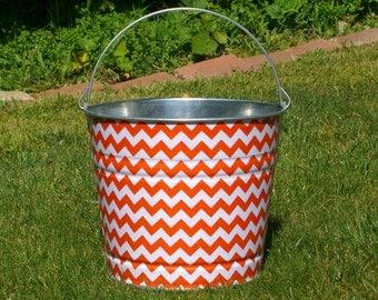 Easter Egg Hunt Basket Tangerine Orange and White Chevron Galvanized Beach Bucket