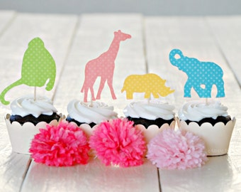 The Vintage Safari Collection - Custom Cupcake Toppers and Their Wraps from Mary Had a Little Party