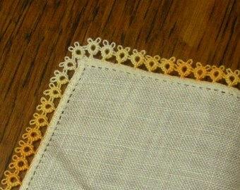 Vintage 12 Inch Square Tatted Edge Linen Hanky