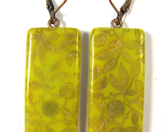 Polymer Clay Earrings - The Language of Flowers Collection - Curry and Olive Floral Trellis Earrings
