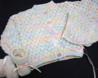 Baby Sweater Set, Hand Knitted, 3-6 months, Baby Girl Sweater Bonnet and Booties, Pastel Colors, Baby Shower Gift, Christening, Baptism