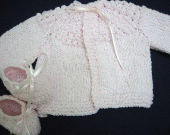 Baby Girl Sweater Set, Hand Knitted Baby Girl Sweater Booties, Pink, 3-6 months, Baby Shower Gift, Christening, Baptism