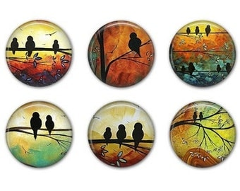 SUNSET BIRD Magnets - Set of Six - 1.25 inches
