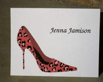 Personalized Leopard Print Stationery - Set of 8 Animal Print High Heel Shoes Note Cards