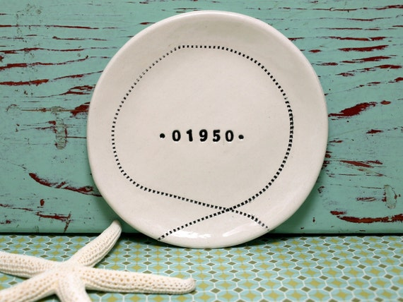 RESERVED Zip Code Dish with Stitching or Plain Design