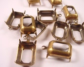 12 Antique Brass Ox Octagon Prong Settings 14x10 1 Ring Open Backs Earring Drop Settings Charm Settings Pendant Settings