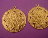4 brass moorish Arabian Style art nouveau embossed pendants 35mm