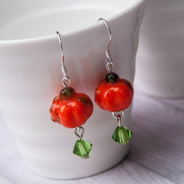 pumpkin earrings by corsecrafts on etsy