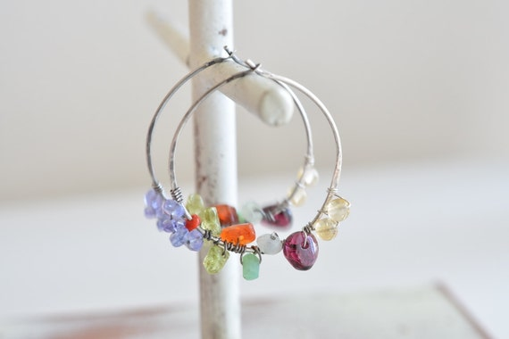 Whimsical Multi Stone Sterling Silver Hoop Earrings