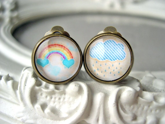Pretty rainbow and rain cloud clip earrings sweet lolita feminine
