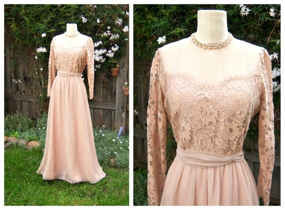 Vintage wedding dress dusty rose chiffon lace sleeves for Antique rose wedding dress