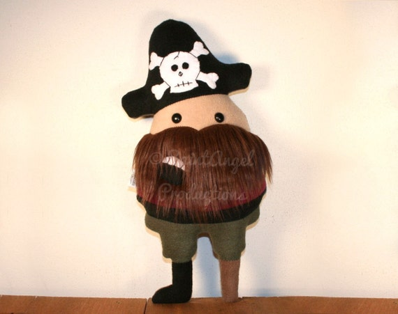 Stuffed Pirate Plush with Fluffy Beard and Peg Leg, One of a Kind Doll Pillow, On Sale - READY TO SHIP
