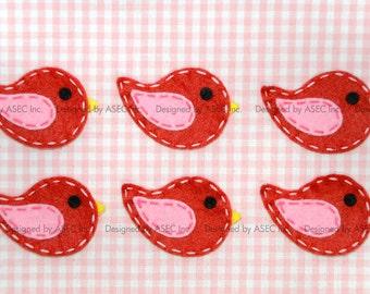 Set of 6pcs handmade felt bird--devil red/baby pink (FT869)