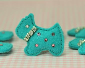 Set of 4pcs handmade felt puffy scottie dog w/swarovski crystal--tro. turquoise (FT632so)