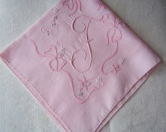 Vintage Pink Hanky with a Pink Initial F - Handkerchief Hankie