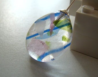 Teardrop Fused Glass Necklace Modern Pastel Confetti
