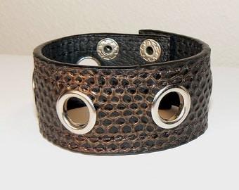 Brown Bracelet, Brown Leather Snap Bracelet, Rocker Chic, Brown Leather, Faux Snake Skin Bracelet, Leather Jewelry (2214)