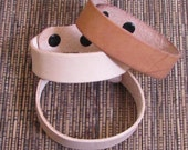 3/4 inch leather cuff bracelet blanks 2 with snaps 2 - see example fits 7.5 inch and 8.5 inch