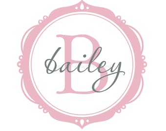 Monogram Wall Decal Bailey Frame with Name and Initial