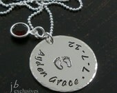 hand stamped mommy necklace - personalized jewelry - sterling silver - baby name disc with birthstones, baby foot