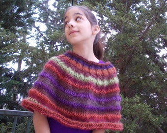 Pure wool poncho wrap children girl women noro like autumn fall colors cowl scarf capelet hand knitted shawl handknitted gift