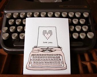 letterpress love typewriter valentine card