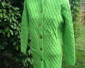 Vintage 1970's Era Sidney Gould Bright Green Cable Knit Sweater Women's Size Large