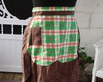 Vintage Brown Cotton and Green Plaid Ladies Half Apron
