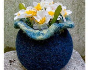 Felted Wool Vase Cover Cozy with Ruffles