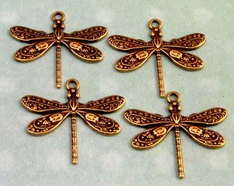 Small Dragonfly Charm, Trinity Brass, Antique Gold, 4 Pc. AG224