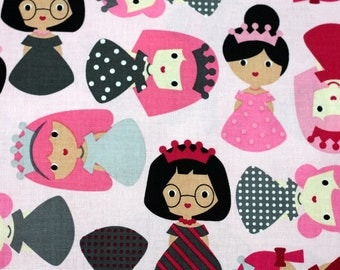 Pink 1 yard Girl Friends Princess by Ann Kelle Fabric by Robert Kaufman