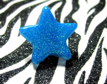 Blue Star Ring, Neon Resin, UV Reactive, Glitter Rave Jewelry, Electric Blue