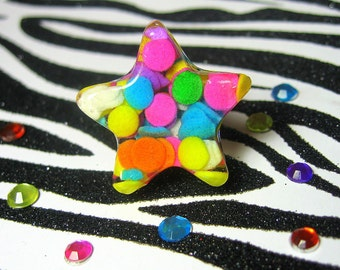 Confetti Sprinkles Ring - Resin Star, Candy Jewelry - Kawaii Kitsch - Real Sprinkles