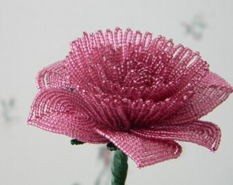 1 french beaded flowers handmade PEONY dusty rose pink  pink  red