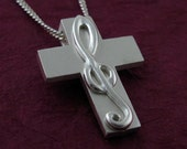 Silver TREBLE CLEF Cross, Music Cross G Clef Necklace - Riveted Treble with Chain, Spiritus Collection Christian Gifts