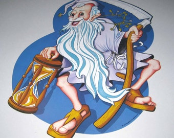 Vintage 1970s Beistle Happy New Year Die Cut Large Blue Father Time