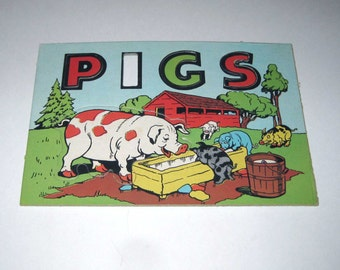 Vintage Children's Word and Picture Puzzle for Pigs