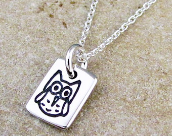 Tiny Owl Necklace - Sterling Silver Owl Pendant - Owl Charm by HANNI
