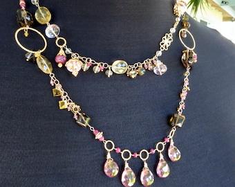 Gemstone statement necklace in gold - ruby necklace - smoky quartz - long opera length - gemstone jewelry - fine jewelry - flapper style