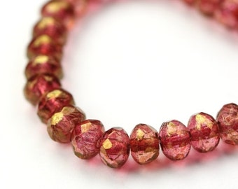 Czech Glass Beads Fire Polished Gemstone Donuts 3x5mm Bronze Luster Rose (30) CZF565