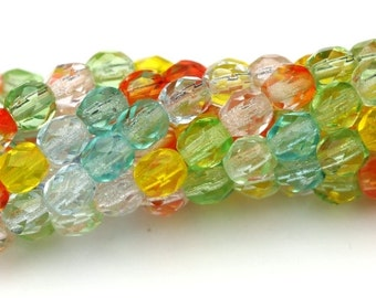 Czech Glass Beads Fire Polished Faceted Rounds 4mm Summer Mix (50) CZF570