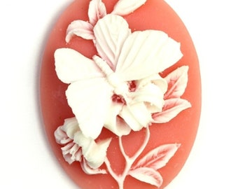 Plastic Cameos 40x30mm Butterfly and Flower Peach / White (2) IC065