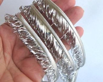"3 yards 21"" BLING LOOP FRINGE edge braid, reversible. Bright silver. 5/8 inch wide. 6004-d"