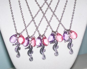 Purple and Pink Seahorse Beach Wedding Necklaces - Set of 5