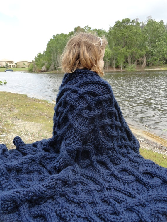Navy Blue Cable Knit Blanket By Craftartstudio On Etsy