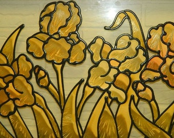 Vintage Stained Glass Floral Frame, Window Decor, Spring Time Flowers, Gladiola Flower garden, Gladiola Flowers, Faux stained glass