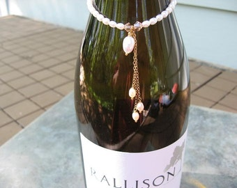 Sale - Free US shipping - Wine Bottle Charm  - 14k Gold Fill Chain - Crystal - Freshwater Pearls
