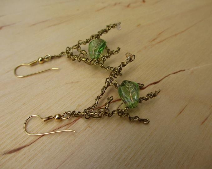 Insouciant Studios Branch Earrings Brass Leaf