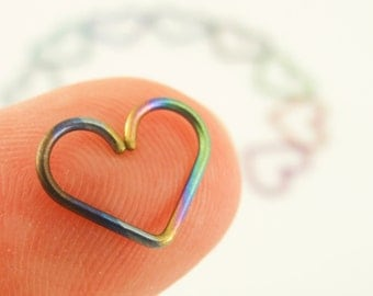 1 Heart - 20 gauge Niobium Heart Piercing - Hypo Allergenic - You Pick Color - Cartilage Piercing or Regular Earring - 10mm