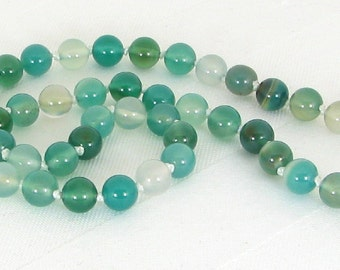 Handknotted Natural Green Agate and Sterling Silver Adjustable Necklace